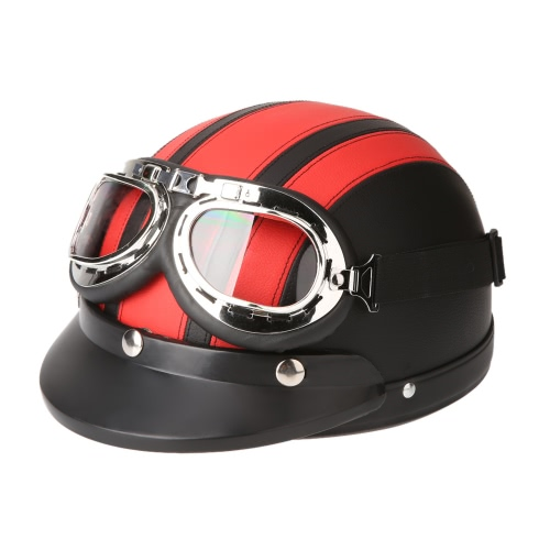 Motorcycle Scooter Open Face Half Leather Helmet with Visor UV Goggles Retro Vintage Style 54-60cm от Tomtop.com INT