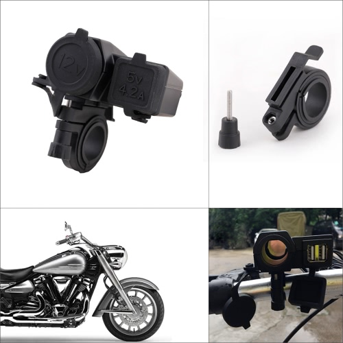 Motorcycle GPS Sat Nav Phone Dual USB Charger Power Adapter Socket Waterproof