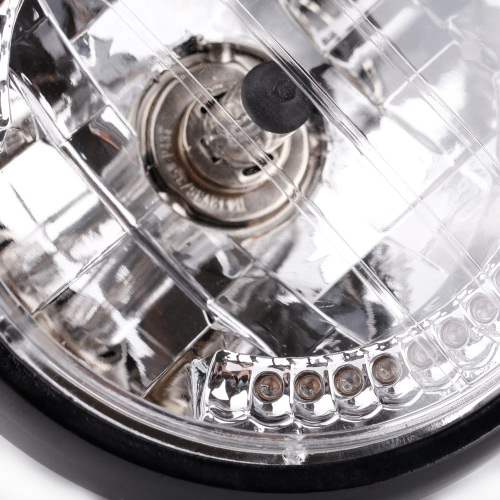 "7"" Halo Motorcycle Headlight LED Turn Signal with H4 Bulb for Harley от Tomtop.com INT"
