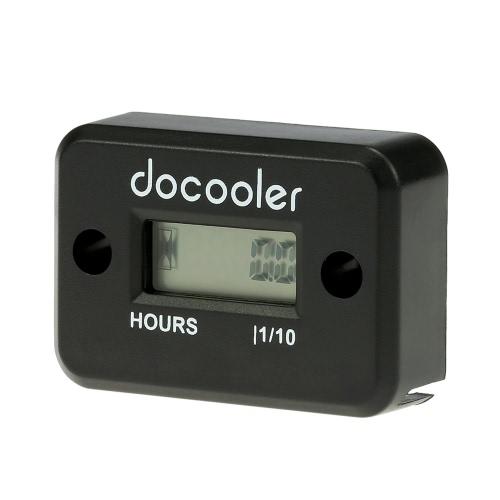 Digital Hour Meter Gauge LCD for Gasoline Engine Racing Motorcycle ATV Mower Snowmobile 0.1/99999Hrs Black K955B