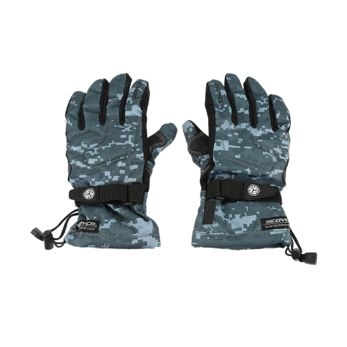Scoyco Camouflage Color Waterproof Windproof Keep Warm Gloves Breathable Full Finger Motorcycle Cycling Racing Riding Skiing Protective Glove K3393DGY-XXL