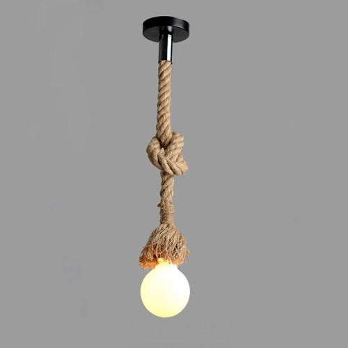 LIXADA 350cm AC220V E27 tête simple corde de chanvre Vintage suspendus pendentif plafond lampe industrielle Country rétro Style repas Salle Restaurant Bar Cafe éclairage utilisation