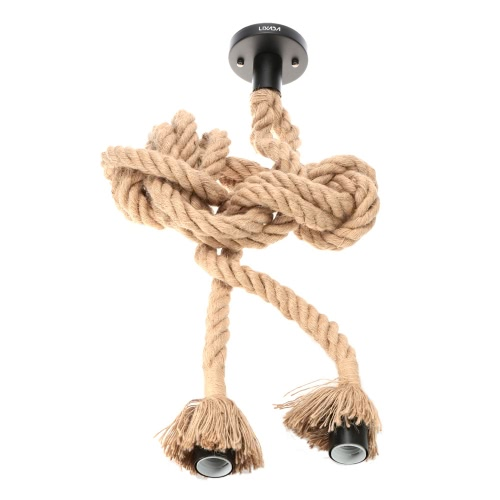 LIXADA 300cm AC110V E26/E27 tête Double corde en chanvre Vintage suspendus pendentif plafond lampe industrielle Country rétro Style repas Salle Restaurant Bar Cafe éclairage utilisation