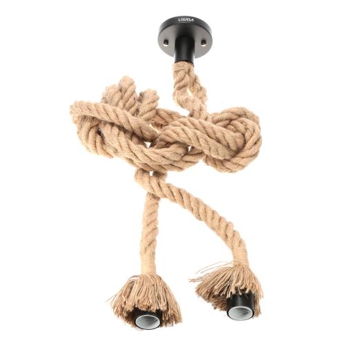 LIXADA 600cm AC220V E27 tête Double corde de chanvre Vintage suspendus pendentif plafond lampe industrielle Country rétro Style repas Salle Restaurant Bar Cafe éclairage utilisation