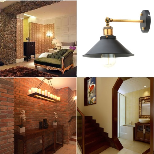 Buy LIXADA Vintage Adjustable Head Wall Sconces Rustic Country Lamps Retro Metal Mounted Bedroom Stair Mirror E27