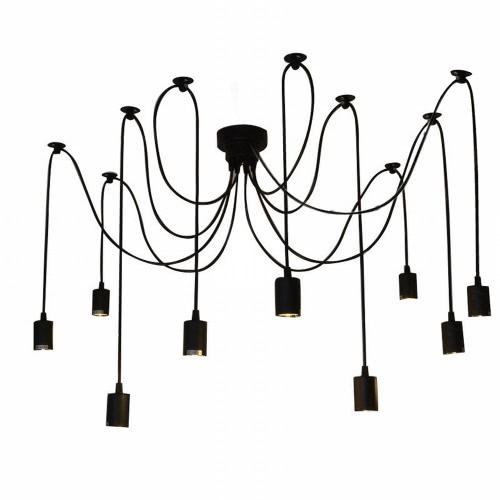 Lixada 9 braços E27 aranha pendente Lâmpada luz antigo clássico ajustável DIY retrô candelabro do teto luminária Hall quartos casa de jantar от tomtop.com INT