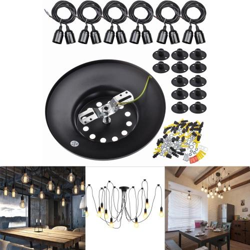 LIXADA 12 armes E27 plafond araignée pendentif lampe Antique classique réglable bricolage rétro lustre lumière accessoires d'éclairage maison chambres salle à manger