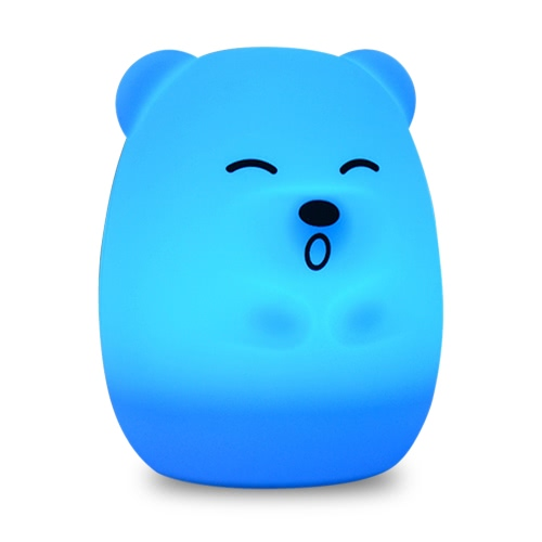 1.6W 8 LEDs Creative Cute Bear Night Light USB Rechargeable Soft Silicone Cartoon Lamp 2 Control Patterns 5 Lighting Modes Touch Sensor Battery Included Portable Colorful Light for Baby Nursery Children Toy Bedside Lamp Luminaria Gift Bedroom Festival Ex