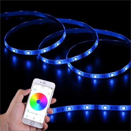 SingHong 300cm 90 LEDs Bluetooth Light Strip RGB 16 millions de couleurs luminosité réglable Smartphone App contrôle l'éclairage intérieur multicolore utilisation U.S. Plug