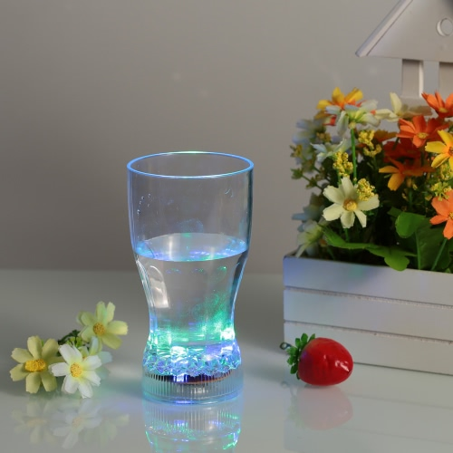 360ml LED Light Up Glass Glowing Flashing Liquid Sensing Multicolor Plastic Tumbler Wine Mug Cup Beer Whisky Drinkware Pub Party Use L0934