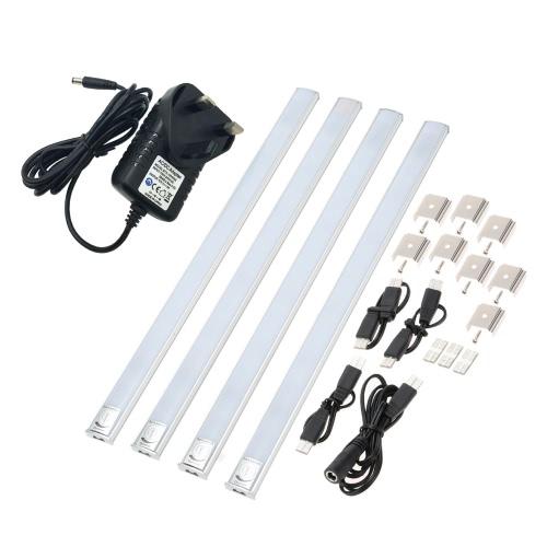 LIXADA 4 emballé AC 100-240V Linkable LED sous Cabinet barre de Strip Light Touch Dimmable commutateur luminosité réglable mince mince pour cuisine placard LED blanc