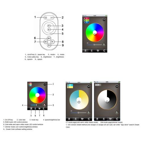 Controlador de LED WiFi para iPhone /Android com RF toque tela remota para tiras de LED RGB от tomtop.com INT