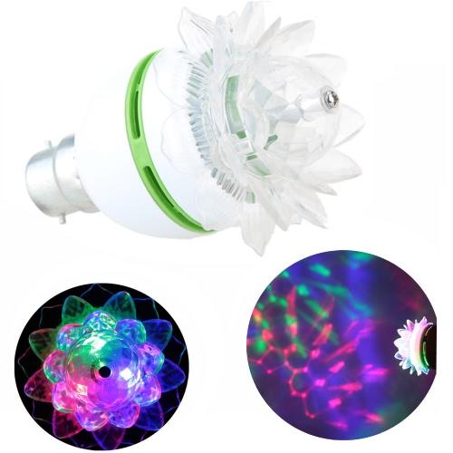 B22 3W LED RGB Stage Lamp Light Bulb Crystal Lotus-like Auto Rotating Party Disco Bar L0577GR1