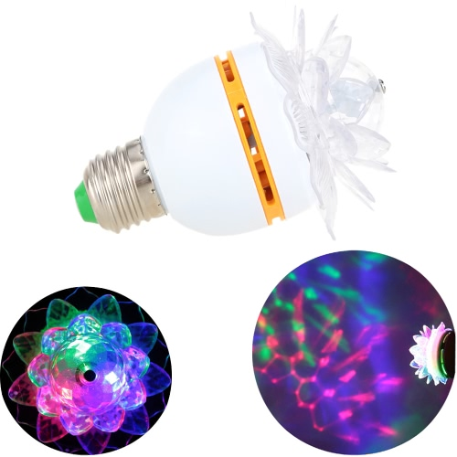 E27/E26 3W LED RGB Stage Lamp Light Bulb Crystal Lotus-like Auto Rotating Party Disco Bar