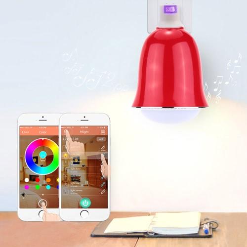 Utiliser de Samsung Galaxy Smartphones App contrôle intérieur Illuminative multicolore 6 s/Plus 5W E26/E27 Smart Bluetooth RGB & blanc RGBW LED ampoule lumière BT Speaker musique lampe luminosité/Volume réglable pour iPhone