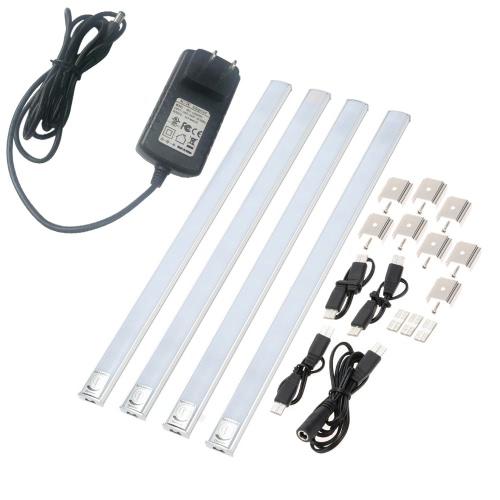 LIXADA 4 emballé AC 100-240V Linkable LED sous Cabinet barre de Strip Light Touch Dimmable commutateur luminosité réglable mince mince pour cuisine placard blanc froid