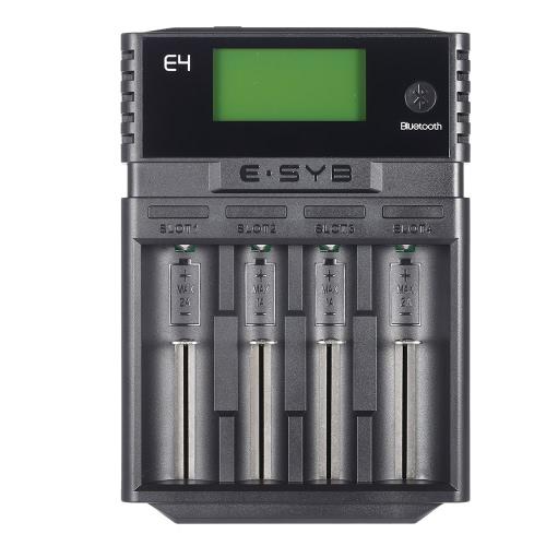 """ESYB E4 bateria carregador App Bluetooth 2.1"""" tela USB saída para 4pcs 10440/14500/14650/16340/17500/17670/18350/1849018500/18650/18700/22650 / 25500/26650 bateria Lithum от tomtop.com INT"""