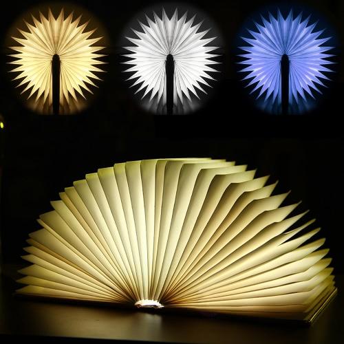 LIXADA LED Rechargeable pliant livre lumière 4.5W 500LM fonctionnant sur pile Changeable forme tableau plancher plafond lampe de chevet pratique et belle lumière luminaire intérieur blanc