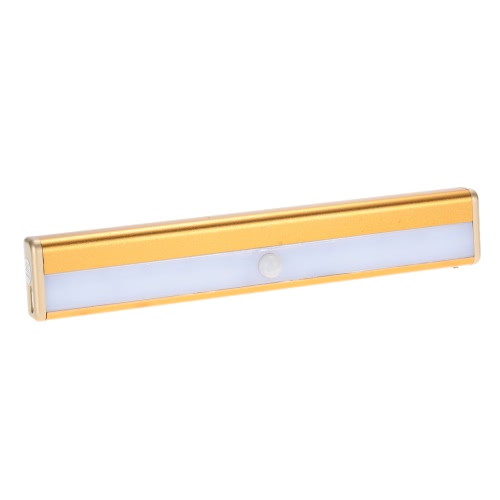 10 LEDs 1W Night Light Under Cabinet Closet Lamp PIR Motion Activated Sensor Light Control Portable Rechargeable Battery Operated Magnetic Base Stick-on Anywhere for Stair Step Drawer Bar Storage L1263G-WW