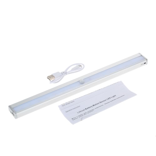 16 LEDs 1.5W Night Light Under Cabinet Closet Lamp PIR Motion Activated Sensor Light Control Portable Rechargeable Battery Operated Magnetic Base Stick-on Anywhere for Stair Step Drawer Bar Storage L1265WW