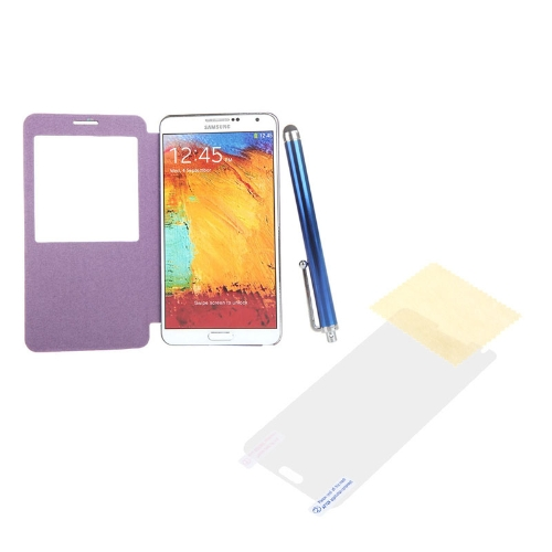 Pen+Screen Film+Flip PU Leather Smart View Battery Housing Case Cover for Samsung N9000 Galaxy Note3 PurplePhone Protection Accessories<br>Pen+Screen Film+Flip PU Leather Smart View Battery Housing Case Cover for Samsung N9000 Galaxy Note3 Purple<br><br>Blade Length: 15.0cm