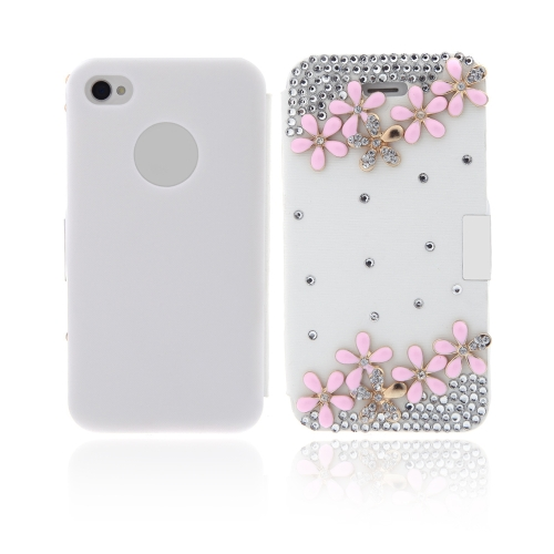 Buy Flip Leather Bling Flower Case Cover PU iPhone 4 4s White