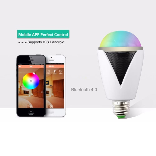 Buy Smart Music Player RGBW Intelligent Lamp Bulb E27/E26 Screw Bluetooth Speaker Multicolor LED Light Wireless Control Waterproof IP25 Android 4.3 IOS 5.0 Smartphone