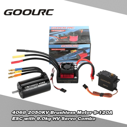 Buy GoolRC 4068 2050KV Brushless Motor S-120A ESC 9.0kg HV Servo Upgrade Combo Set 1/8 RC Car Truck