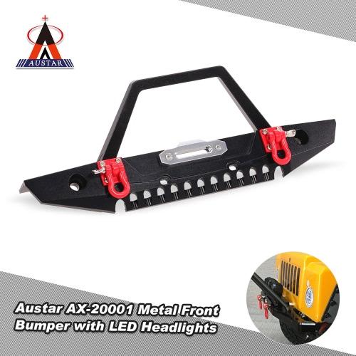 Austar ax-20001 metal front bumper bull bar with led headlights winch mount...