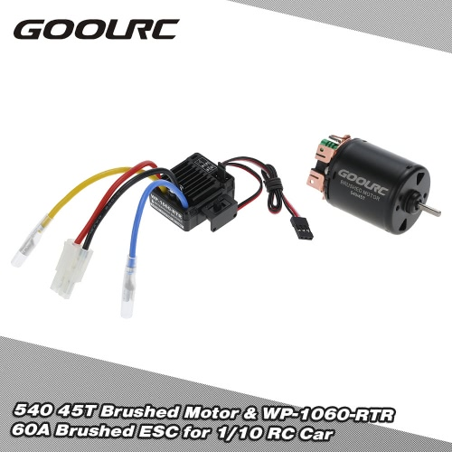 Buy GoolRC 540 45T 4 Poles Brushed Motor WP-1060-RTR 60A Waterproof ESC Electronic Speed Controller 5V/2A BEC 1/10 RC Car