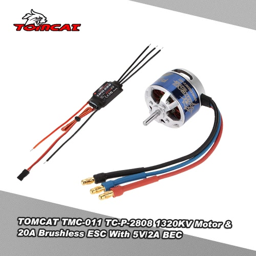 TOMCAT TMC-011 TC-P-2808 1320KV 13T Motor &amp; Skylord 20A Brushless ESC with 5V/2A BEC for RC AirplaneOther Toys<br>TOMCAT TMC-011 TC-P-2808 1320KV 13T Motor &amp; Skylord 20A Brushless ESC with 5V/2A BEC for RC Airplane<br><br>Blade Length: 14.0cm
