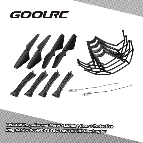 Original GoolRC T5 Part CW/CCW Propeller +Landing Gear + CW/CCW Motor + Protective Ring Set for GoolRC T5 T5C T5W T5G RC QuadcopterOther Toys<br>Original GoolRC T5 Part CW/CCW Propeller +Landing Gear + CW/CCW Motor + Protective Ring Set for GoolRC T5 T5C T5W T5G RC Quadcopter<br><br>Blade Length: 14.0cm