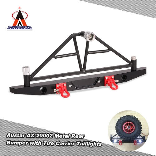 Austar ax-20002 metal rear bumper with spare tire carrier taillights for 1/10...