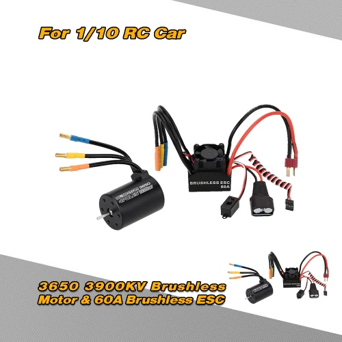 Buy 3650 3900KV 4P Sensorless Brushless Motor & 60A Splash-Proof Electronic Speed Controller ESC 5.8V/3A Switch Mode BEC 1/10 RC Car