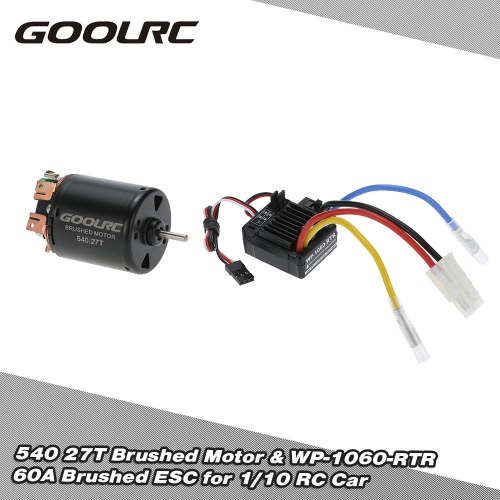 Buy GoolRC 540 27T 4 Poles Brushed Motor WP-1060-RTR 60A Waterproof ESC Electronic Speed Controller 5V/2A BEC 1/10 RC Car