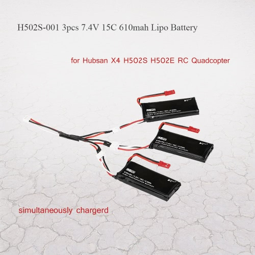 3psc H502S-001 7.4V 15C 610mAh Lipo Battery with 3 in 1 Charge Cable for Hubsan X4 H502S H502E RC QuadcopterHubsan H111 Parts<br>3psc H502S-001 7.4V 15C 610mAh Lipo Battery with 3 in 1 Charge Cable for Hubsan X4 H502S H502E RC Quadcopter<br><br>Blade Length: 14.9cm