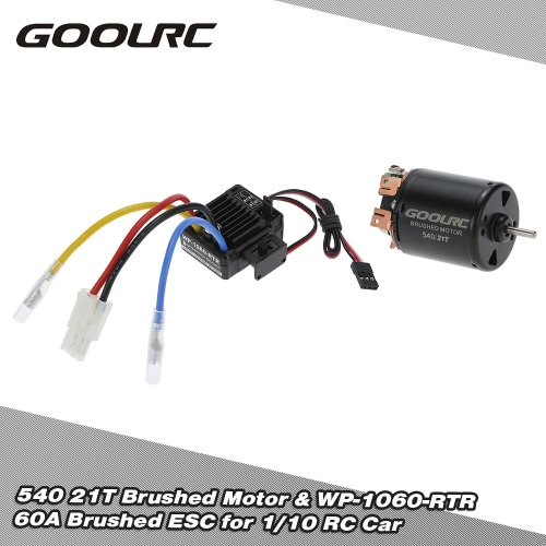 Buy GoolRC 540 21T 4 Poles Brushed Motor WP-1060-RTR 60A Waterproof ESC Electronic Speed Controller 5V/2A BEC 1/10 RC Car