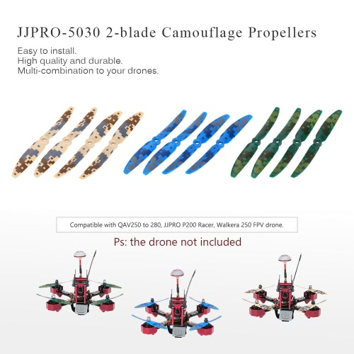 12pcs Original JJRC JJPRO-5030 2-blade Propellers with Camouflage Pattern for JJPRO-P200 JJRC-X1 Kylin250 Falcon250 180 QAV250 QAV280 RC FPV Racing Drone Quadcopter