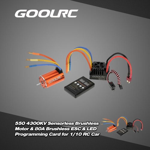 Buy GoolRC 550 4300KV Sensorless Brushless Motor & 80A ESC LED Programming Card Combo Set 1/10 RC Car