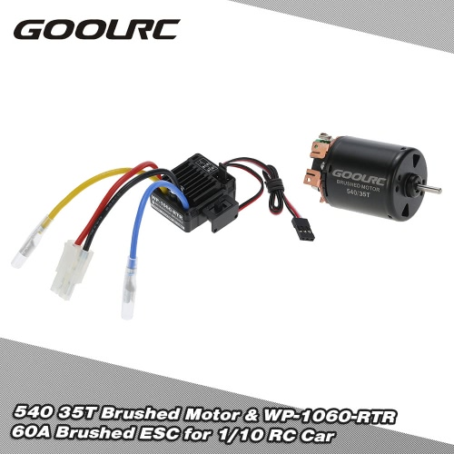 Buy GoolRC 540 35T 4 Poles Brushed Motor WP-1060-RTR 60A Waterproof ESC Electronic Speed Controller 5V/2A BEC 1/10 RC Car