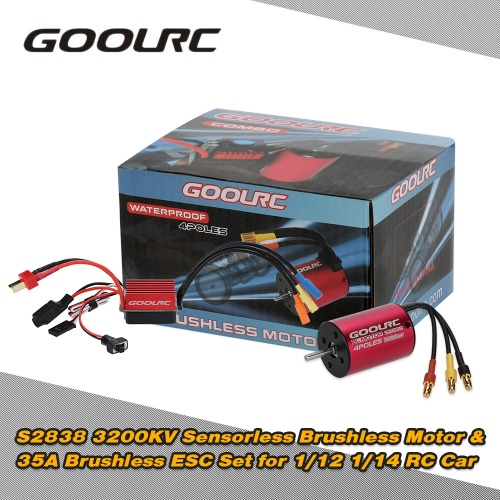 Buy Original GoolRC S2838 3200KV Sensorless Brushless Motor 35A ESC Combo Set 1/12 1/14 RC Car Truck
