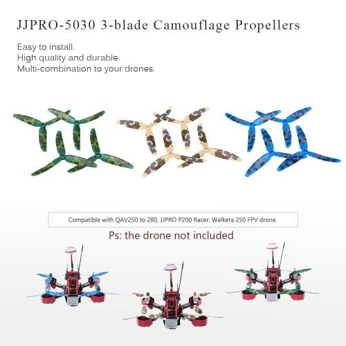 12pcs Original JJRC JJPRO-5030 3-blade Propellers with Camouflage Pattern for JJPRO-P200 JJRC-X1 Kylin250 Falcon250 180 QAV250 QAV280 RC FPV Racing Drone Quadcopter RM6627