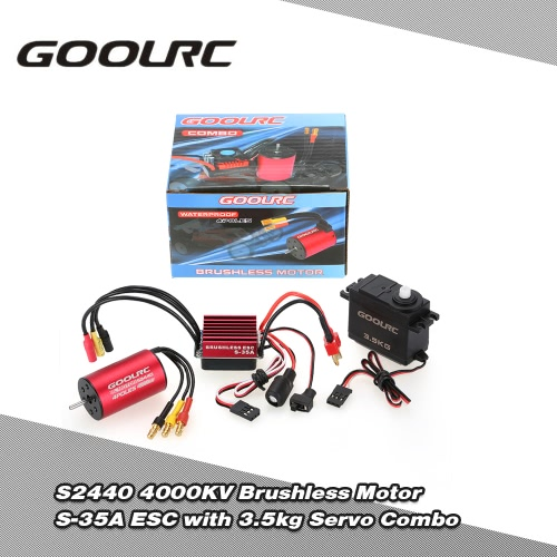 Buy GoolRC S2440 4000KV Brushless Motor S-35A ESC 3.5kg Servo Upgrade Combo Set 1/16 RC Car Truck