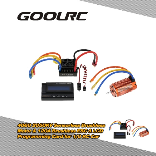 GoolRC 4068 2050KV Sensorless Brushless Motor &amp; 120A Brushless ESC with 6V/3A Switch Mode BEC &amp; LCD Programming Card Combo Set for 1/8 RC CarMotor<br>GoolRC 4068 2050KV Sensorless Brushless Motor &amp; 120A Brushless ESC with 6V/3A Switch Mode BEC &amp; LCD Programming Card Combo Set for 1/8 RC Car<br><br>Blade Length: 18.0cm