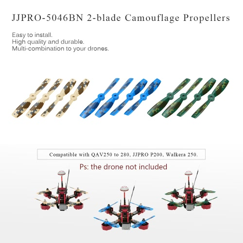 12pcs Original JJRC JJPRO-5046BN 2-blade Propellers with Camouflage Pattern for JJPRO-P200 JJRC-X1 Kylin250 Falcon250 180 QAV250 QAV280 RC FPV Racing Drone Quadcopter RM6628