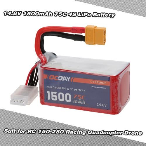 OCDAY 14.8V 1500mAh 75C 4S High Discharge LiPo Battery with XT60 Plug for RC 150-280 Racing Quadcopter QAV180 QAV250 ZMR250 DroneOther RC Battery<br>OCDAY 14.8V 1500mAh 75C 4S High Discharge LiPo Battery with XT60 Plug for RC 150-280 Racing Quadcopter QAV180 QAV250 ZMR250 Drone<br><br>Blade Length: 12.7cm