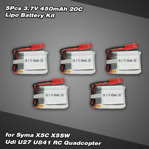 5Pcs 3.7V 450mAh 20C Lipo Battery Kit for Syma X5C X5SW Udi U841 RC QuadcopterSyma Multicopter Parts<br>5Pcs 3.7V 450mAh 20C Lipo Battery Kit for Syma X5C X5SW Udi U841 RC Quadcopter<br><br>Blade Length: 15.0cm