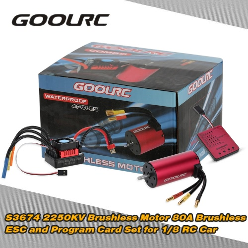 Buy Original GoolRC S3674 2250KV Sensorless Brushless Motor 80A ESC Program Card Combo Set 1/8 RC Car Truck