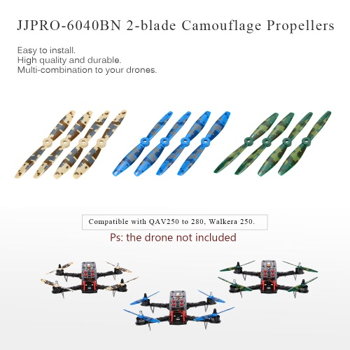 12pcs Original JJRC JJPRO-6040BN 2-blade Propellers with Camouflage Pattern for JJRC-X1 Emax Nighthawk280 HiSKY HMX280 Talon280R QAV250 QAV280 RC FPV Racing Drone Quadcopter