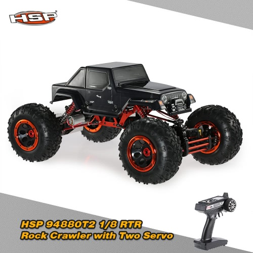 Buy Original HSP 94880T2 1/8 2.4Ghz 3CH 4WD Electronic Powered Brushed Motor RTR Rock Crawler RC Car Two Servo